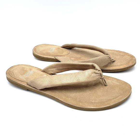 Eileen Fisher Shoes - Eileen Fisher Nude Leather Suede Flip Flop Sandals